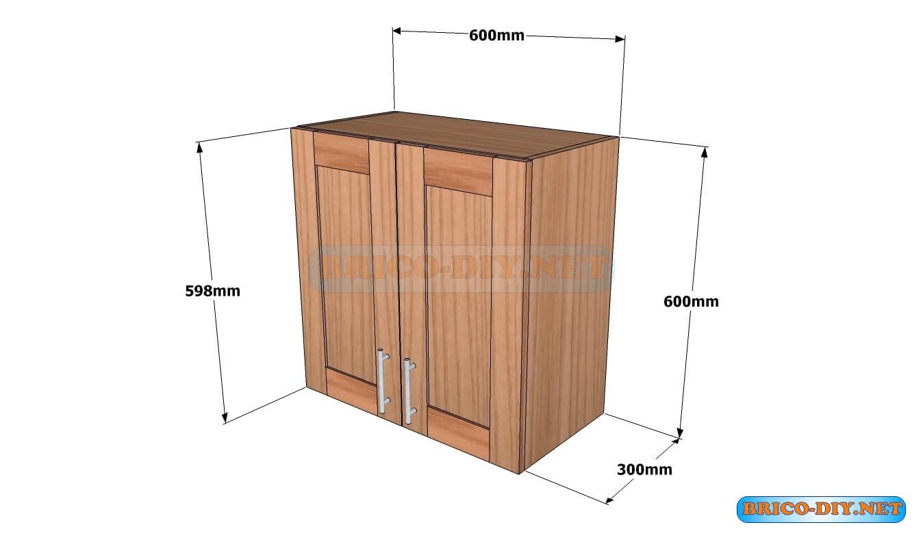 Mueble de cocina plano alacena de madera cedro 60 cm de for Medidas muebles