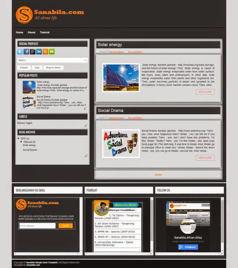 Free Download Simple Dark Template Keren Untuk Blog