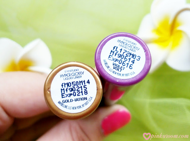 Maybelline Hyper Glossy Electrics Eyeliner in Gold Lation and Violet Volt Review Pinkuroom