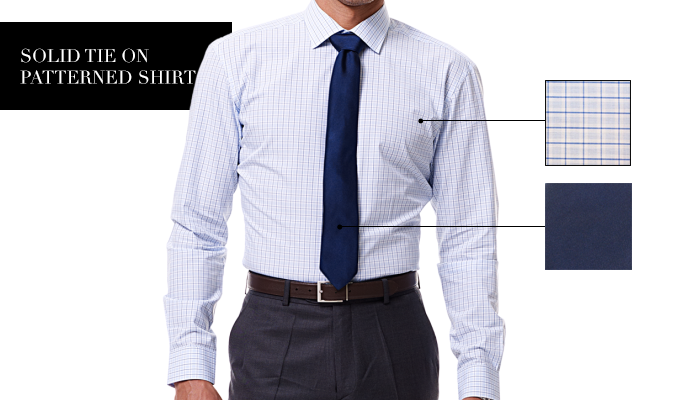 Solid Tie on Patterned Shirt