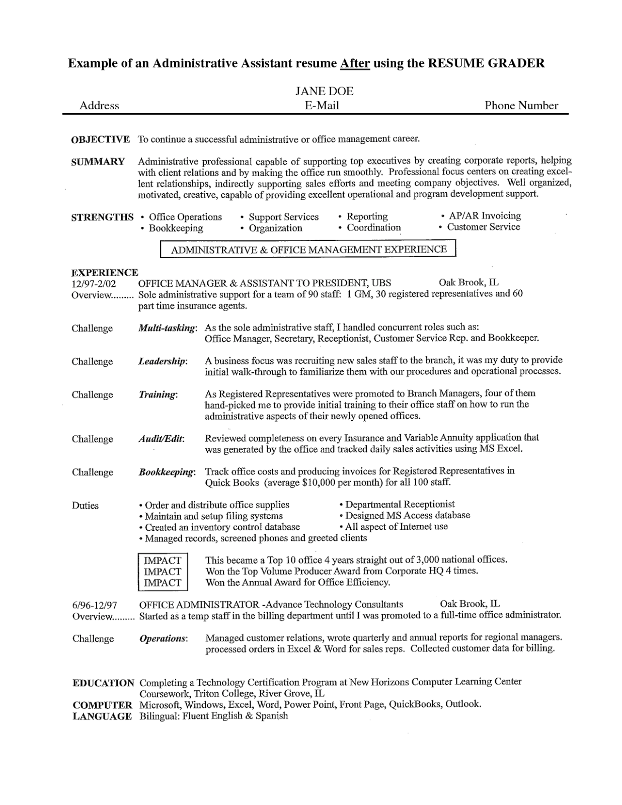 sample objective on resume for administrative assistant free sample resumes download