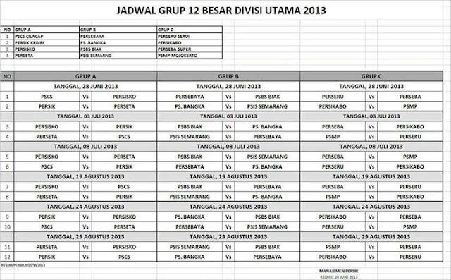 Jadwal Pertandingan Grup: 12 Besar Divisi Utama Liga Indonesia 2013