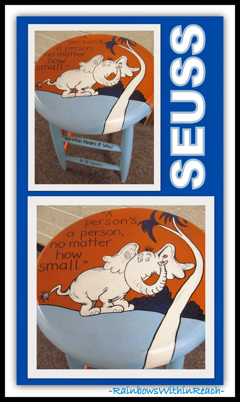 Seuss Handpainted Stool for Horton via RainbowsWithinReach