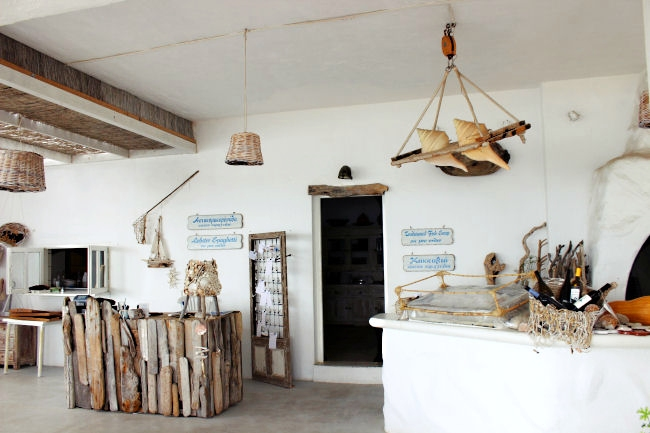 Koumbara taverna in Ios, offering fresh fish and sea food. Great design, close to Koumbara beach.