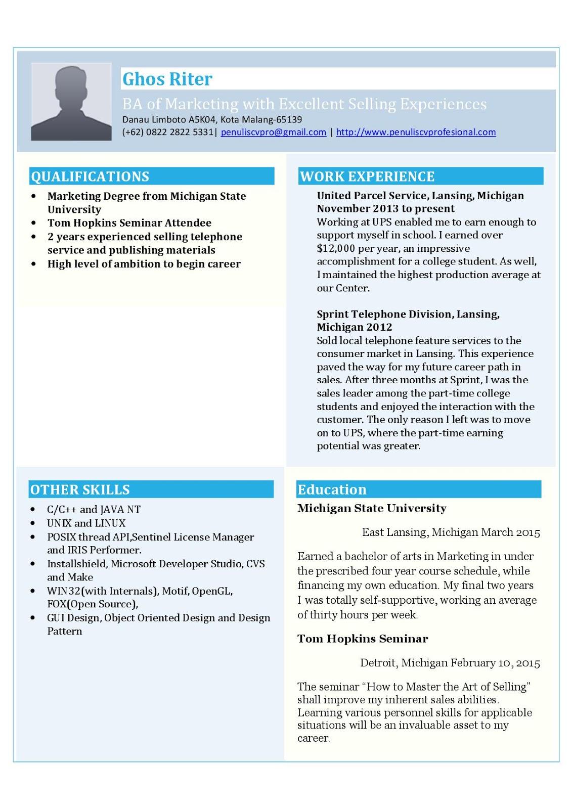 contoh resume  curriculum vitae sarjana baru lulus yang