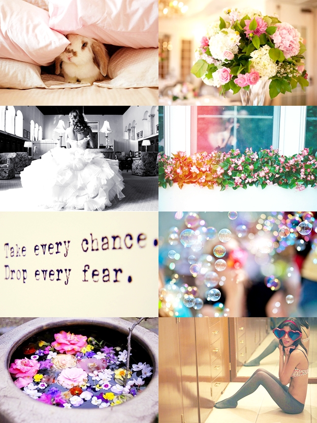 cute bunnies, brides and dresses, flowers, be brave-quote, bubbles, heartshaped glasses