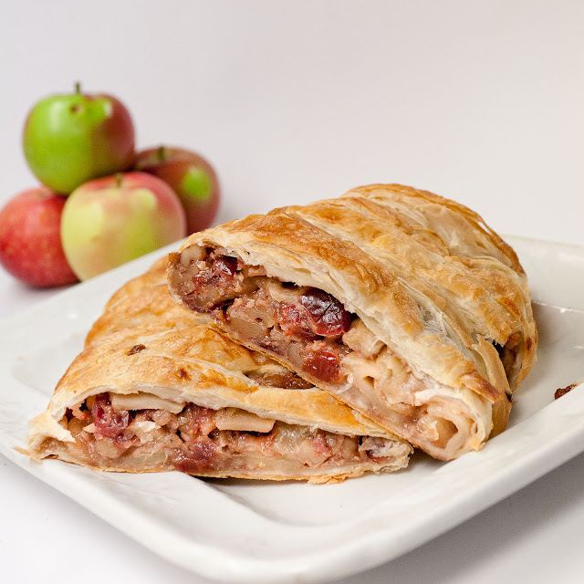apple, cranberries, boourbon, strudel, walnuts, oatmeal, puff pastry