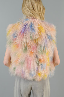 Vintage 1980's pink rainbow fluffy mongolian fur cropped vest.