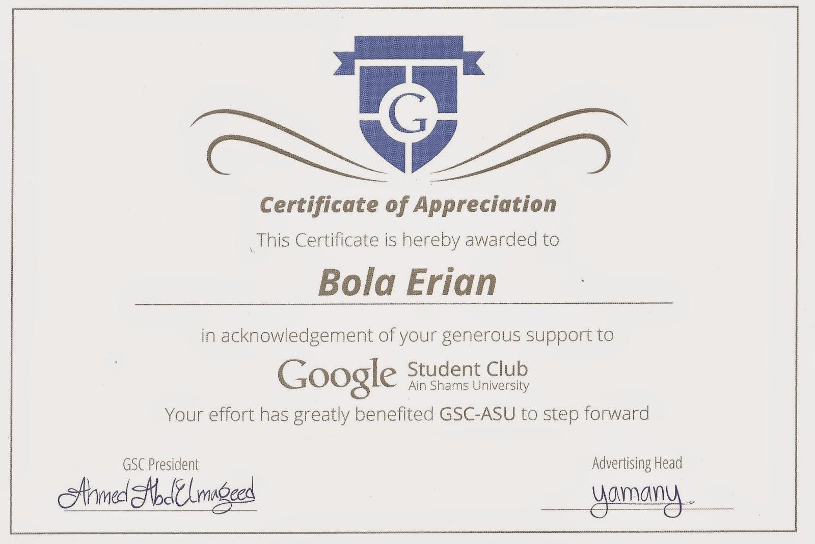 Bola Esrs Certificates