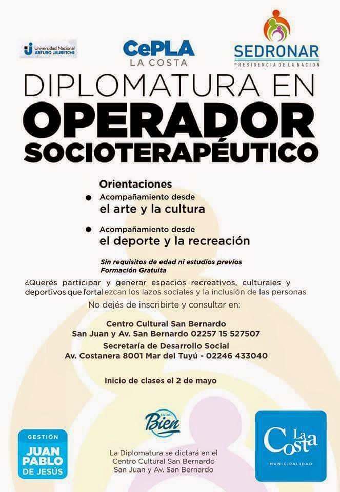 Afiche de la Diplomatura en Operador Socioterapéutico