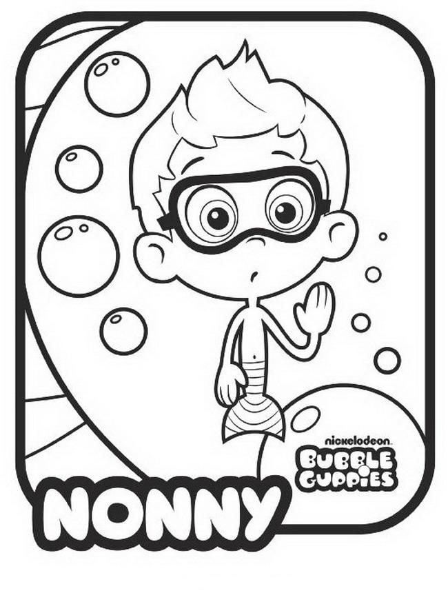bubble guppies coloring pages nonny