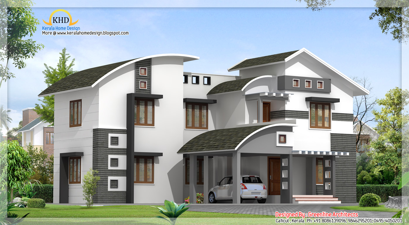 Contemporary villa design 2850 sq ft kerala home for Villas designs photos