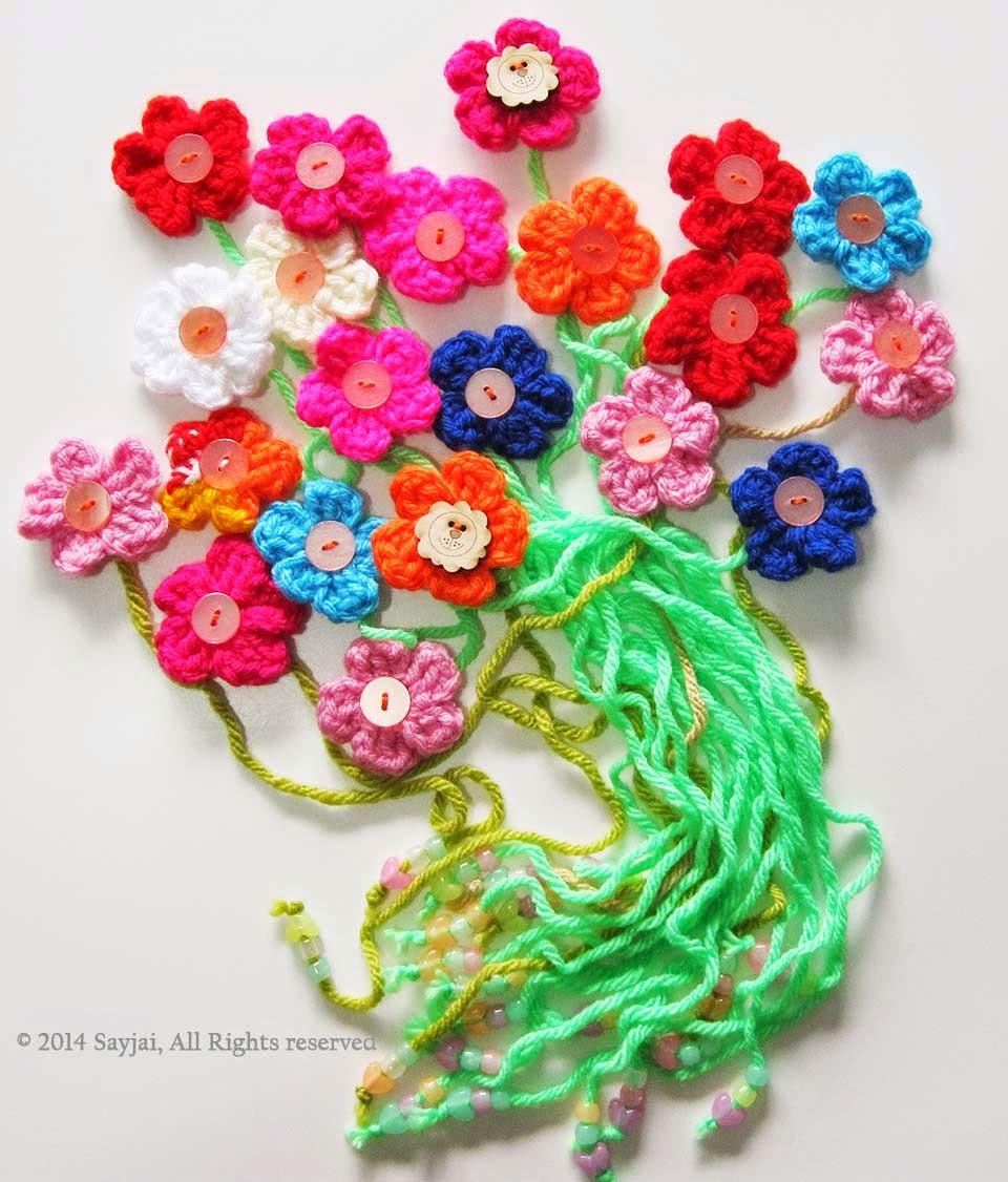 Crochet Amigurumi Flowers : Flower Bookmark and Decorations - Sayjai Amigurumi Crochet ...