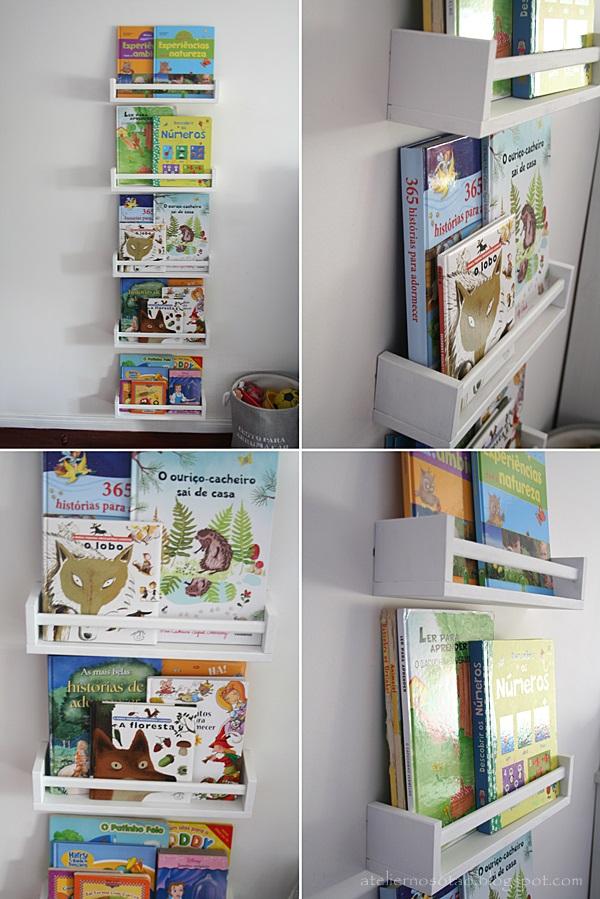 Atelier no Sótão Prateleiras para livros em quarto infantil
