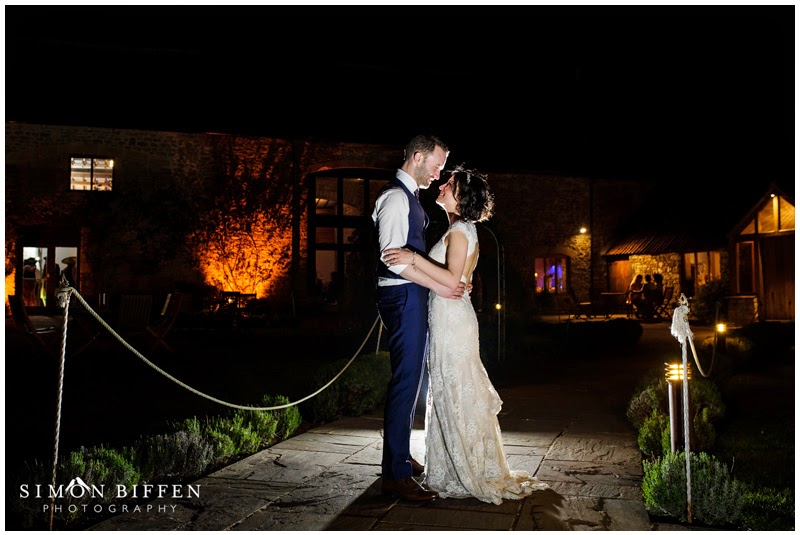 Bride and groom night portrait at Priston Mill