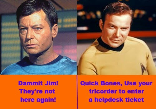 Star Trek Out of office sign for helpdesk techs