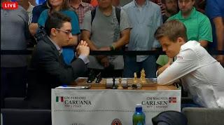 Le Norvégien Magnus Carlsen, champion du monde d'échecs en titre va rendre les armes face à l'incroyable Italien Fabiano Caruana - Capture d'écran © Chess & Strategy