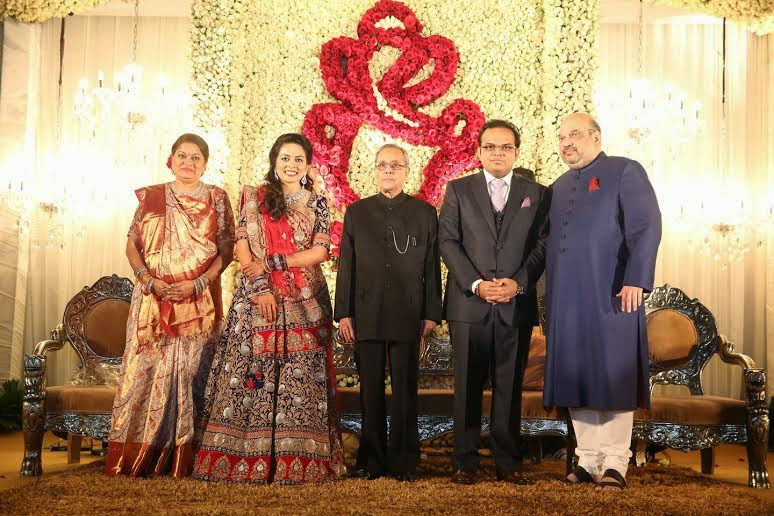 President Pranab Mukherjee at Amit Shah's son reception ceremony