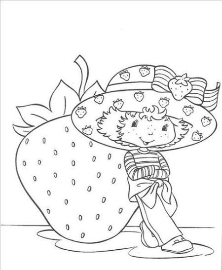 Dibujos animados de la chica fresa para pintar - Imagui