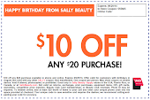 Sally's $10 September Coupon