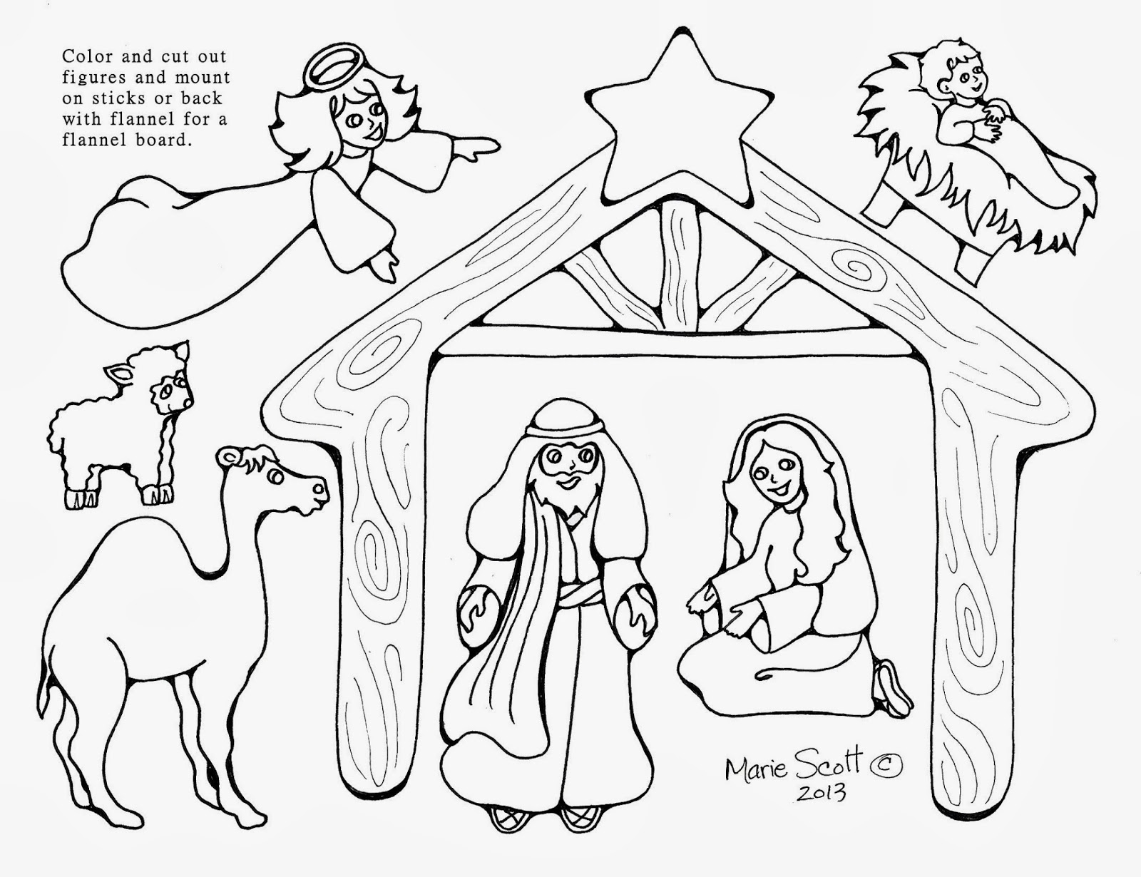 Universal image in printable nativity scene