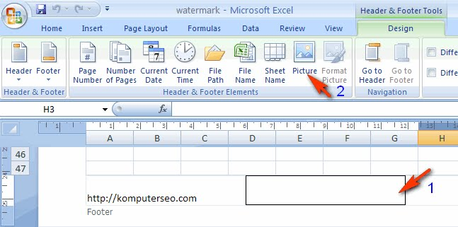 how to add watermark in excel 2007