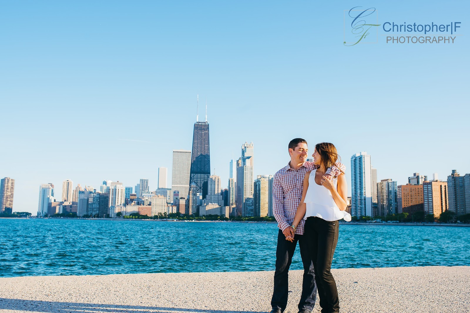 North Avenue Beach Chicago Engagement Photo