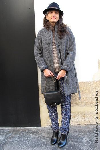 Look hiver Manteau gris chiné laine Coatpeople