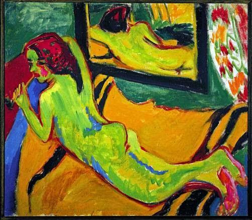 Kirchners Liegender Akt vor dem Spiegel, 1909