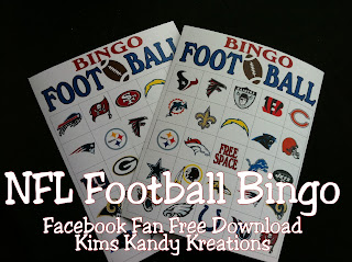 NFL Football Bingo Facebook Freebie