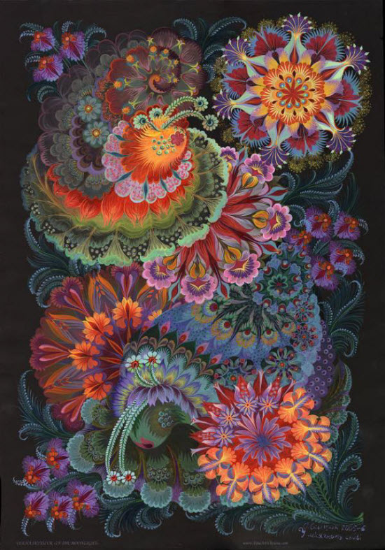 Petrykivka paintings by olena skytsiuk from ukraine all about - Decorative painting artists ...