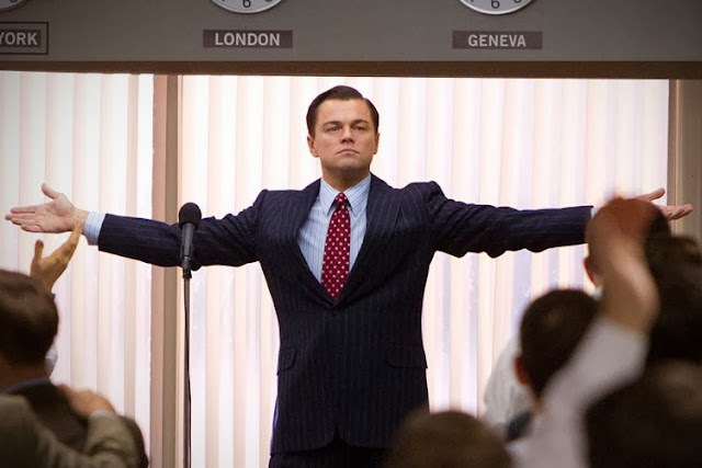 Leonardo DiCaprio in Wolf of Wall Street movie still