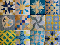 12-block composite Aqua-yellow quilt