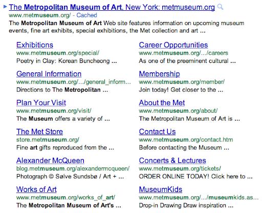 Google's new sitelinks
