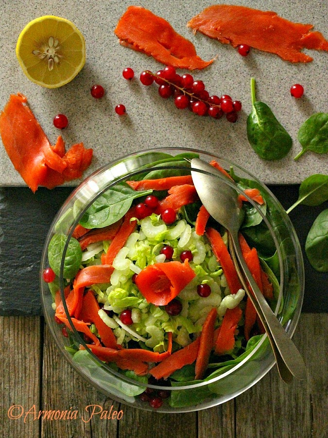 Insalata di Salmone Affumicato con Ribes e Spinaci Novelli di Armonia Paleo