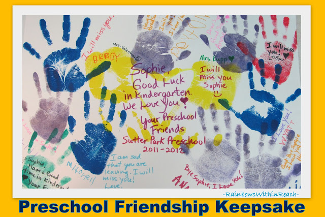 photo of: Keepsake for leaving Preschool and heading to kindergarten