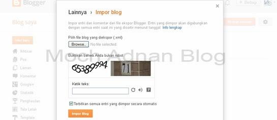 Cara Ekspor Atau Mengalihkan Blog Ke Web/Blog Lain