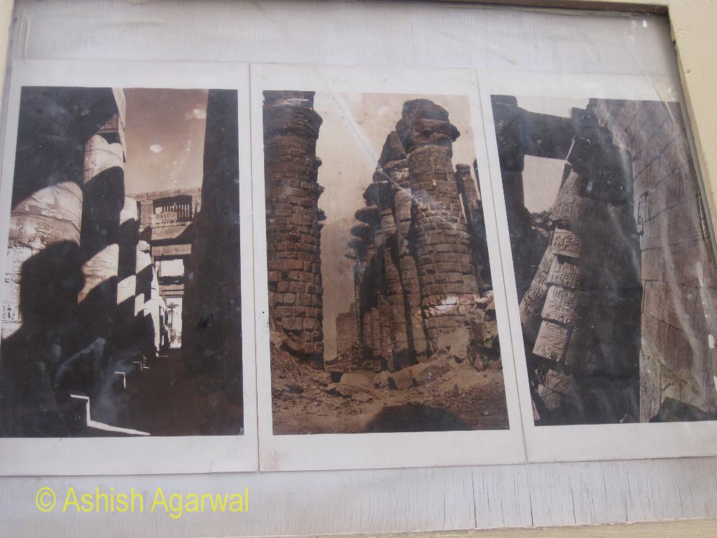 Photo of the view of the Hypostyle Hall at the Karnak temple before it was restored