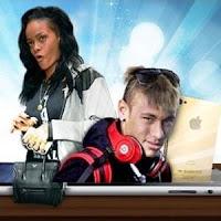 Jogador de futebol Neymar e a cantora Rihanna