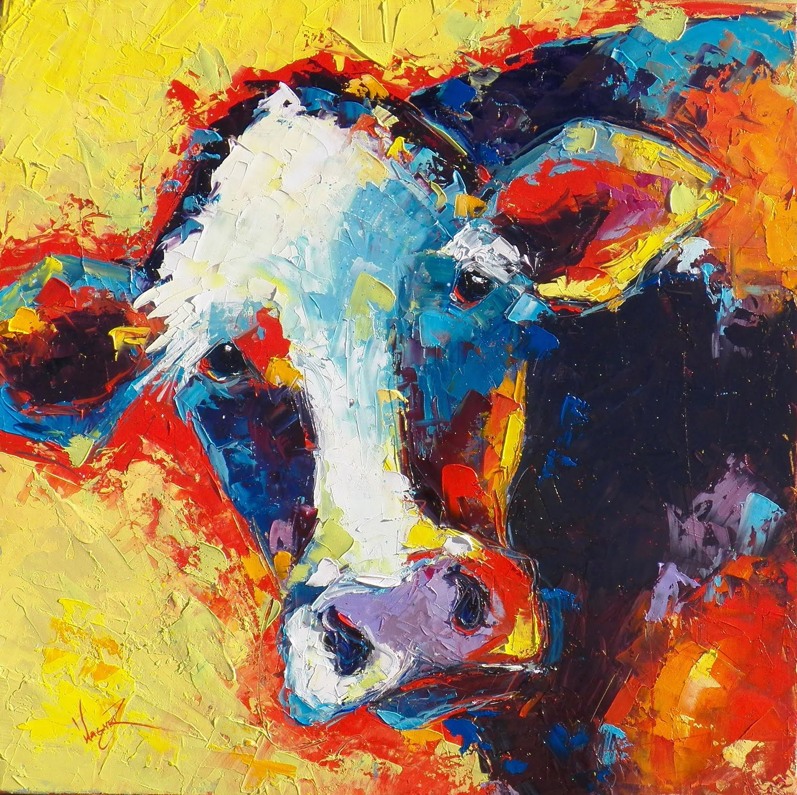 Olga Paints: CONTEMPORARY COLORFUL COW IN PALETTE KNIFE