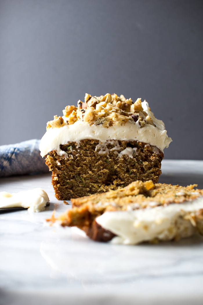 Carrot Zucchini Bread with Cream Cheese Frosting and Walnuts