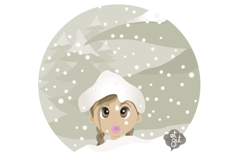 illustration jeune fille neige