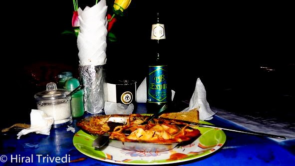 The meal in the Sunset Cafe at the Kudle Beach and a beer.