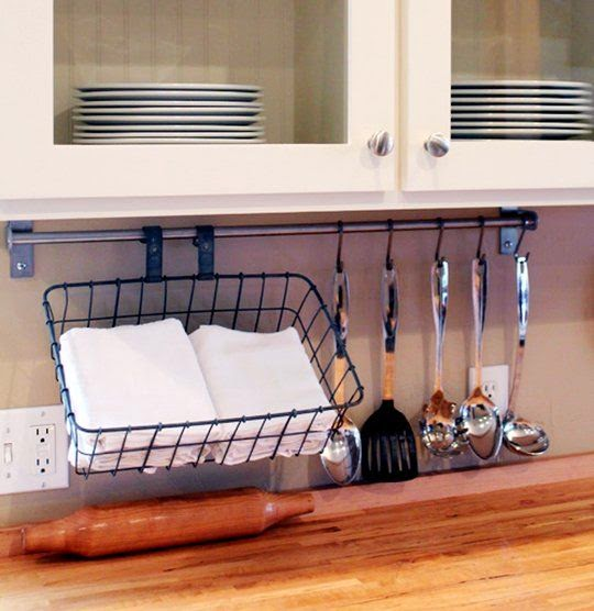 http://www.thekitchn.com/hang-a-bicycle-basket-from-your-backsplash-to-store-your-tea-towels-small-space-living-197015
