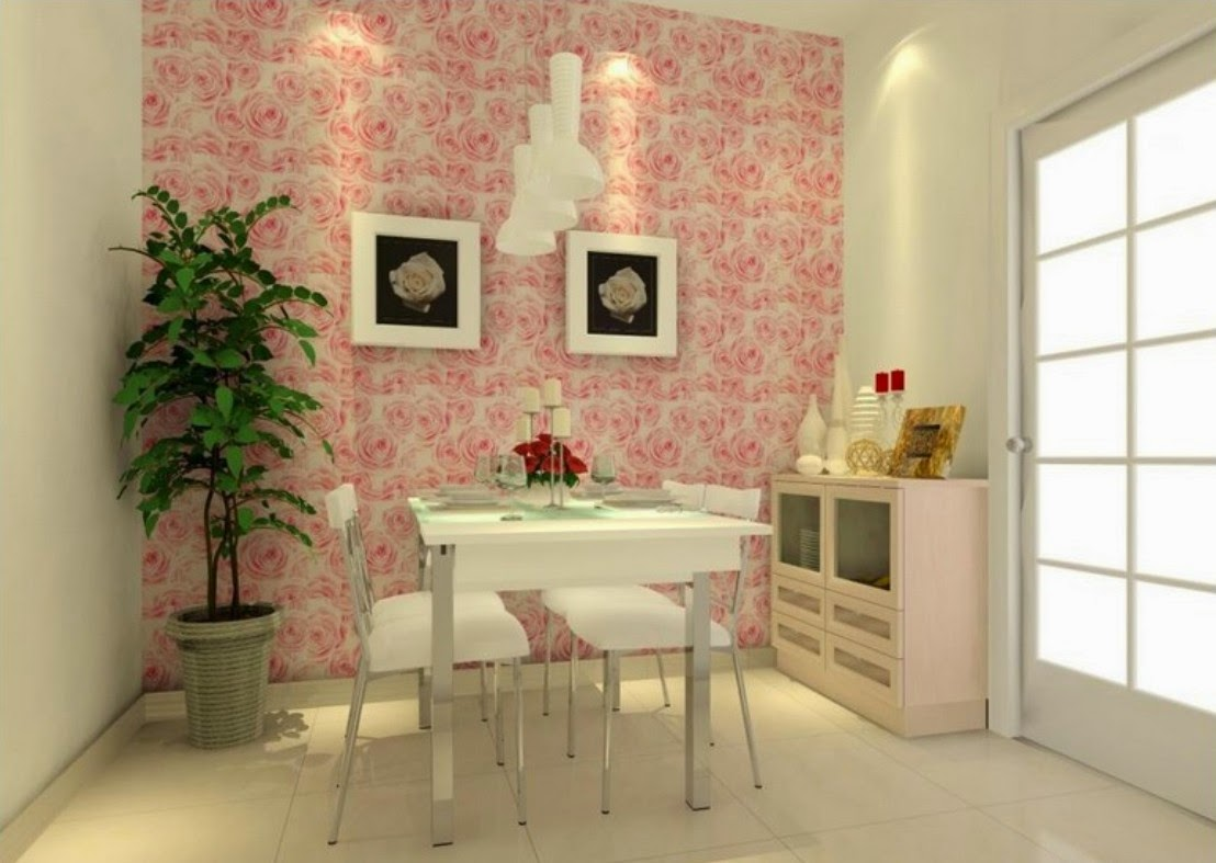 Dining Room Wallpaper Uk Part - 46: Another Example Of How Brightly Colored Painted Furniture Can Team Up With  A Vintage Rose Patterned Wallpaper For A More Updated Look.