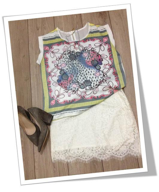 My Fashion Set saia de renda e blusa de estampa de lenço
