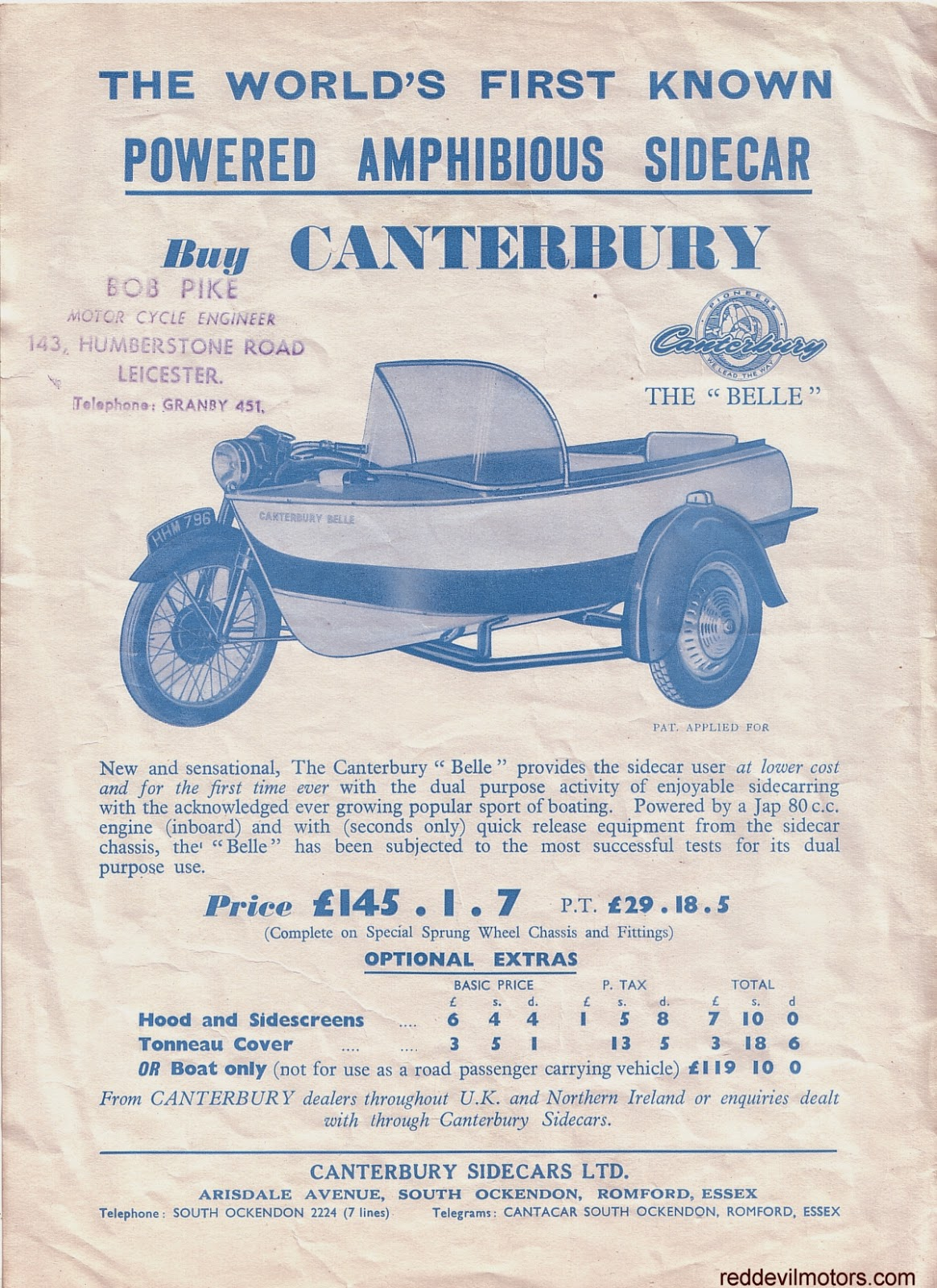 The Canterbury Belle amphibious sidecar.
