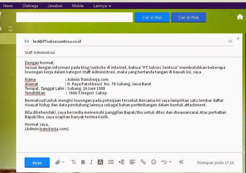 7 Contoh Surat Lamaran Kerja Lewat Email - ben jobs