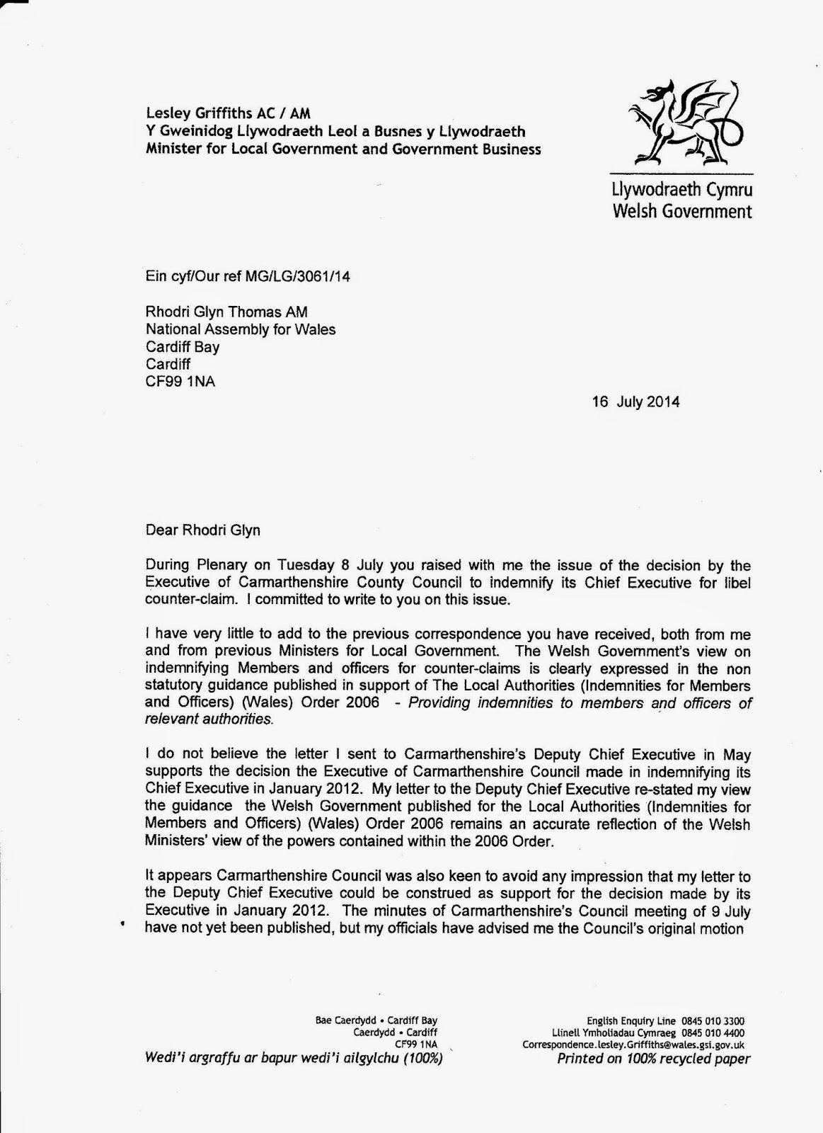 carmarthenshire planning problems and more 2014 i do not believe the letter i sent to carmarthenshire s deputy chief executive in supports the decision the executive of carmarthenshire council