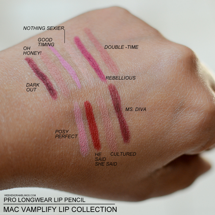 MAC Vamplify Prolongwear Lip Pencil Lipliners Swatches Dark Out Oh Honey Good Timing Nothing Sexier Rebellious Doubletime Posy Perfect He Said She Said Cultured Ms Diva Fall 2015 Makeup